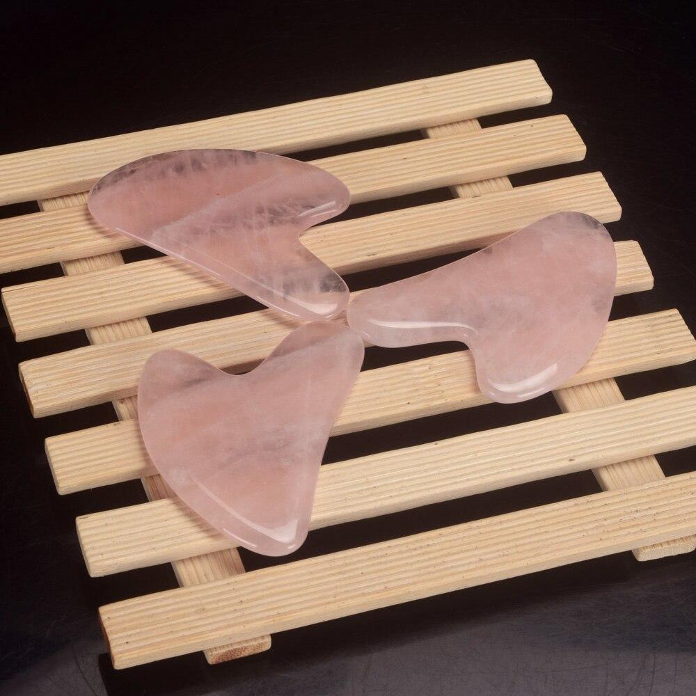 1pcs Natural Rose Quartz China Traditional Health Care Gua Sha SPA  Acupuncture Scraper Massage Tool Face Back Foot Massage