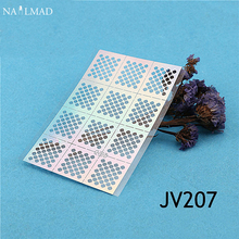 12 Tips/Sheet Nail Vinyls Easy Use Diamond Net Pattern Nail Art Stencil Hollow 3D Nail Stickers JV207(China)