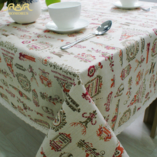 Christmas Table Cloth Cotton Linen Lace Edge Cartoon Printed Tablecloth Dinning Party Festival Decorative Table Covers for Table