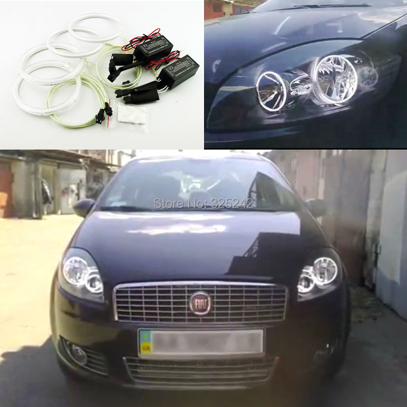 For Fiat Linea 2007-2015 Excellent CCFL Angel Eyes kit  Ultrabright headlight illumination angel eyes kit Halo Ring<br><br>Aliexpress