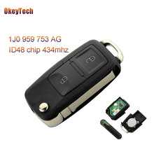 OkeyTech for VW Remote Control Key Flip 2 Button 434MHz ID48 Chip for VW Volkswagen Bora Polo Golf MK4 Remote Key 1J0 959 753 AG(China)