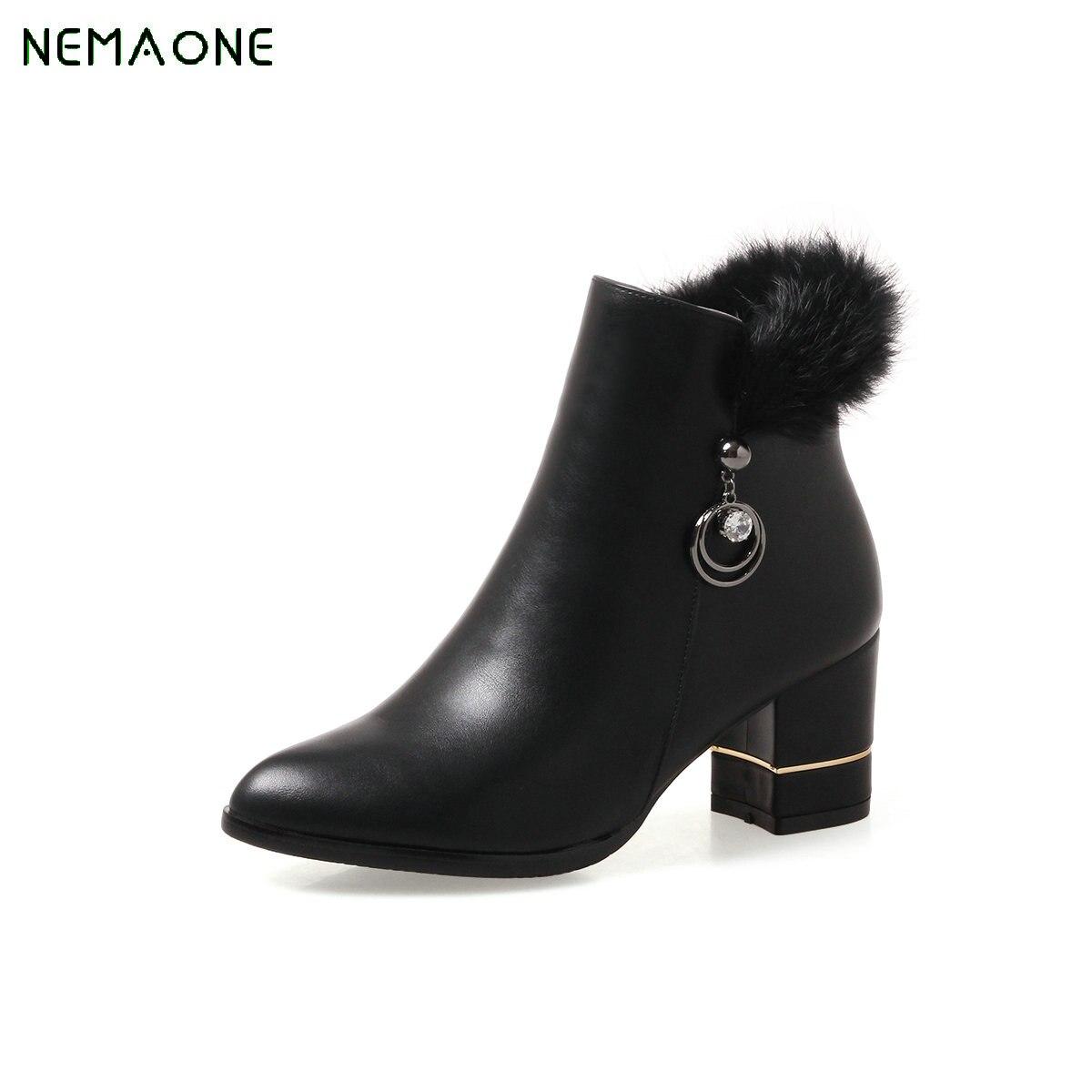 NEMAONE Botas Women Footwear Pu Leather Round Toe Martin Boots Platform Shoes Female Autumn/winter High Heel Ankle Boots Zipper<br>