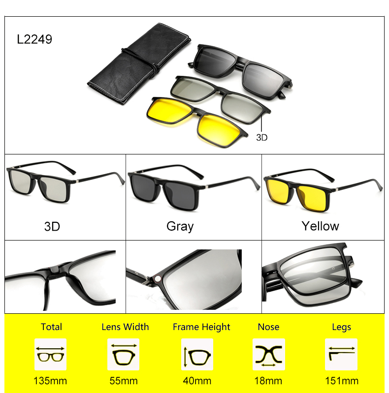 Ralferty 2018 Multi-Function Magnetic Polarized Clip On Sunglasses Men Women Ultra-Light TR90 3D Yellow Night Vision Glasses 9