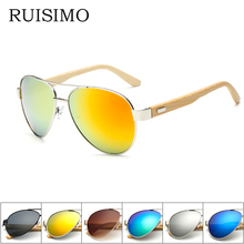 Bamboo pilot Sunglasses Men Wooden metal Women pilot Brand Designer Mirror Original Sun Glasses drive Oculos de sol