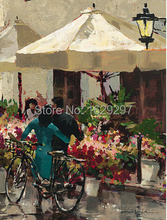 Flower Market Street oil painting of Brent Heighton High quality canvas Reproduction Hand painted Romantic Art Paris Landscape(China)