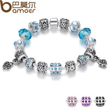 Aliexpress горячая распродажа европейский стиль 925 кристалл браслет для женщин с голубыми муранского стекла бусины DIY ювелирных изделий PA1394