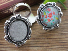 20mm 5pcs Antique Silver Plated Brass Adjustable Ring Settings Blank/Base,Fit 20mm Glass Cabochons,Buttons;Ring Bezels -K4-04