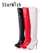 Fashion Japanned Leather Side Zip Back Lace Up Platform High Heels Over The Knee Boots Sexy Steel Pipe Dance Boots Plus Size 43