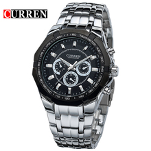 Curren 8084 Mens Business Watches Original Brand Full Steel Wrist Watches Big Eight Corners Face Japan Movement Quartz Relogio(China)