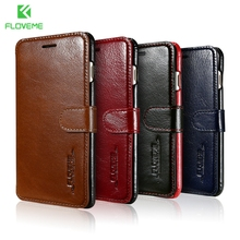 FLOVEME For iPhone 7 Case Luxury Genuine Leather Coque Flip Magnetic Card Slot Brown Phone Case Cover For iPhone 7 Fundas Bag