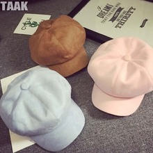The Korean version of candy colored  warm  simple suede octagonal cap painter children in spring for women and men c011