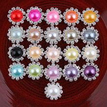 30pcs/lot 21colors Bling Round Decorative Flatback Crystal Pearl Buttons Metal Rhinestone Buttons for Hair Accessories/Ornamets(China)