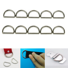 10 Pcs Metal Sliver D Ring D-rings Purse Ring Buckles For Webbing Strapping 25 mm Bag Hanger Accessories
