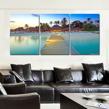 Unframed 3 Panels Wall Painting Landscape Bridge  Swimming Pool Canvas Print Painting Home Decor Wall Art Picture Free Delivery