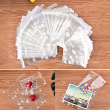 100pcs snow adhesive bag cookies diy Gift Bags for Christmas Party Candy Food&Handmade soap Packaging bags white(China)