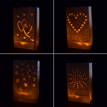 10PCS Wedding Heart Tea Light Holder Luminaria Paper Lantern Candle Bag Home Valentines Day Gifts Party Decoration(China)