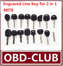 10pcs Original Engraved Line Key for 2 in 1 LiShi MIT8 scale shearing teeth blank car key locksmith tools supplies