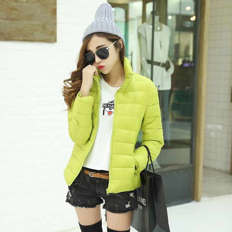 2017 Winter Jacket Women Short Slim Stand Collar Jackets Cotton-padded Solid Long Sleeve Outwear Coat Casual Candy Color ParkasОдежда и ак�е��уары<br><br><br>Aliexpress