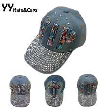 Colorful Rhinestones Snapback Hats For Woman Brand Blue Jean Baseball Caps Unisex Denim Snap back Cap Boss VIP Hip hop Hat Y0330