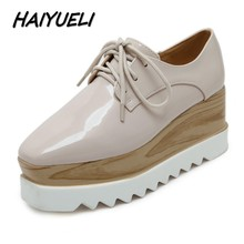 HAIYUELI New women casual shoes woman square toe fashion wedge thick bottom platforms star high heels shoes size 35-40(China)
