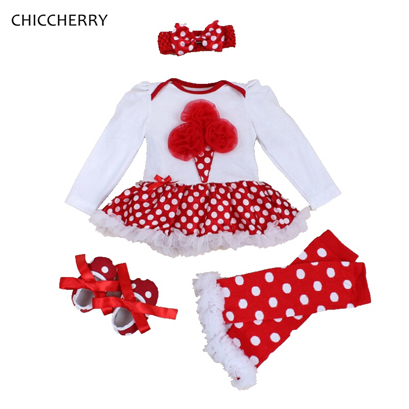 Icecream Baby Girl Clothing Polka Dots Lace Toddler Romper Tutu Dress Headband &amp; Socks Set Conjunto Bebe Coveralls For Newborns<br><br>Aliexpress