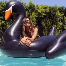 190cm Giant Black Swan Pool Float 5 Color White Pink Grey Gold Swimming Broad Inflatable Ride-On Water Toys Air Lounger Mattress