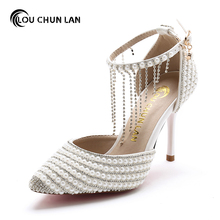 Crystal tassel bracelet Wedding Shoes White pearl Bridal Shoes pointed toe thin heels sandals 2016 fringe Free Shipping(China)