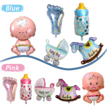 5Pcs/Set Baby Shower Air Balloons Birthday Party Decoration Foil Balloons Lovely Baby Girl & Boy Happy Birthday Balls #87431