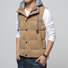 2017 Mens Jacket Sleeveless veste homme Winter Fashion Casual Coats Male Hooded Cotton-Padded Men's Vest men Thicken Waistcoat