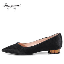 Fanyuan black fashion spring autumn new single shoes woman pointed toe shallow Genuine Horse hair casual ladies low heels shoes(China)