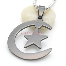 Black  Stainless Steel Islamic Crescent Moon & Star Charm pendant Necklace For Muslim W/ Free Chain 60CM Long