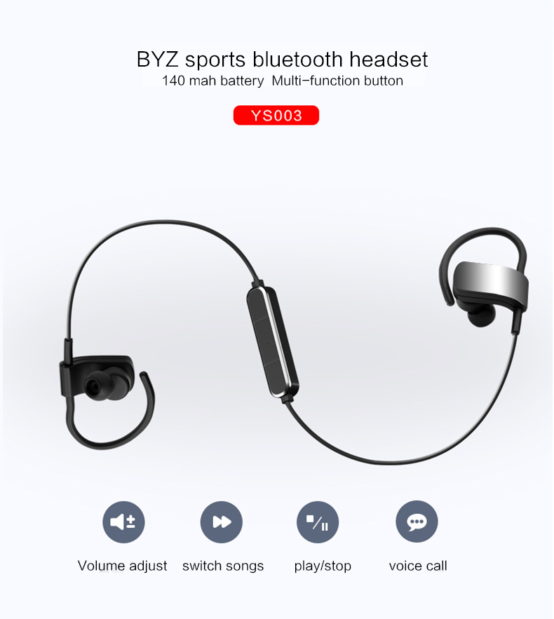 Bluetooth earpiece Sport Running With Mic In-Ear Wireless metal headphone Bass Bluetooth earphone For iPhone Xiomi MP3 YS003