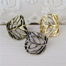 2017 New European And American Fashion 3 Colors Exaggerated Rings Influx Of People Ring Hollow Leaves Rings