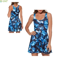Blue Luminous Animal 3d Print Women Dress Sexy Bodycon Fluorescent Skater Dresses Pleated Femme Harajuku Reversible Sundress