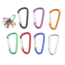 5Pcs Outdoor Sports Camping Equipment D Shape Carabiner Aluminium Alloy Buckle Camping Bag Keychain Hook(China)