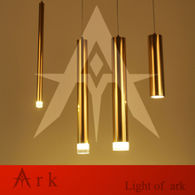 ARK LIGHT height 28cm Mirror Gold Aluminum cannular warm color led Pendant Lamp TUBE Cylinder Shape LED hanging light bar lamp