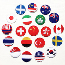 10pcs Countries flags full embroidered patches for clothes iron on clothing American Germany Italy France design stripes badges(China)