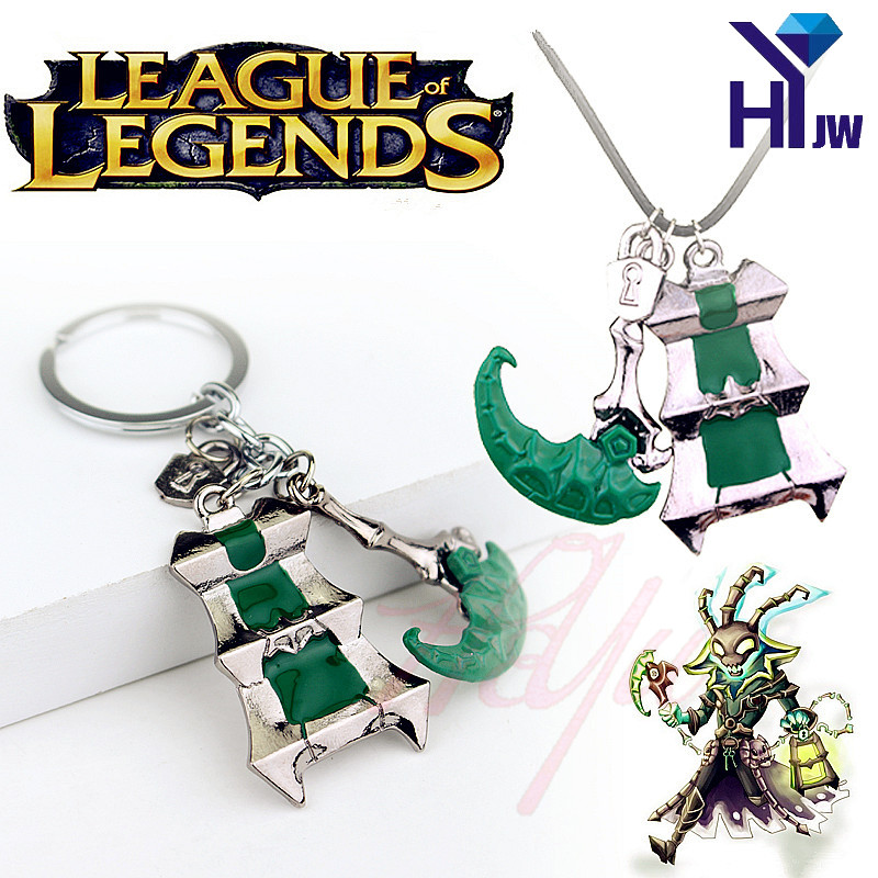 Hot Game League Legend LOL Thresh Weapon Pendant Lantern Sickle Keychain Pendant Key Ring Enamel Charm Cosplay Jewerly