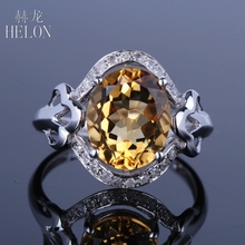 HELON 12x9mm Oval Genuine Citrine Ring Solid 14K White Gold Natural Diamond Engagement Ring Gemstone Exquisite Wedding Fine Ring(China)