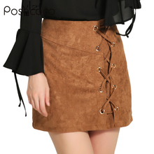 Poshcoco Vintage Sexy 2017 New Autumn Winter Couture Fashion High Waist Band Suede Women Bag Hip Skirt Womens Slim Skirts PH872