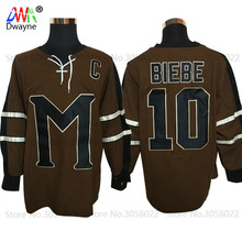 2017 Dwayne Mens Movie Ice Hockey Jersey Vintage 10 Biebe Mystery Alaska Movie Jersey Winter Wear For Men Brown Stitched Sewn