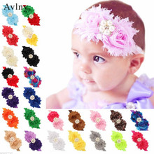 Baby Headbands Big flowers Infants Elastic Chiffon Bands Shabby Fabric  Hairbands Girls Kids Rhinestone hair accessories ca367086de7c