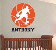 Charming Custom made Basketball Removable Wall Decal Personalized Room Wall Art Custom Name Vinyl-You Choose Name and Color