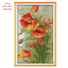 Needlework,cross stitch,embroidery,DIY 14ct printed and whited canvas Kit,Poppy Flower Pattern Counted Cross-Stitching Christmas