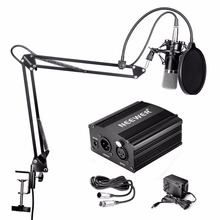 Neewer NW-700 Condenser Microphone & NW-35 Scissor Arm Stand  XLR Cable and Mounting Clamp & NW-3 Pop Filter Phantom Adapter Kit