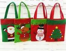 500pcs/lot New Santa Claus Gift Shopping Bags Merry Christmas Tree pattern Candy Bags handle bag Xmas carnival by TNT,Fedex,DHL