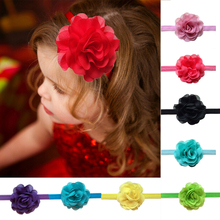Drop ship Baby Girls' Hair Accessory Chiffon Silk Rosette Flowers headband Hair Flowers 16color Children accessories(China)