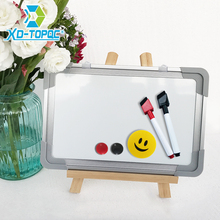 Dry Wipe Magnetic 20*30cm Whiteboard Imitation Aluminium Plastic Frame Double Sided White Memo Board Wood Easel Free Gift PW01(China)
