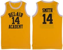 Yellow Basketball T-shirts Cheap Basketball Jersey Will Smith the Fresh Prince Jerseys 14# BEI AIR Hip Hop Mesh Fabric S-3XL(China)
