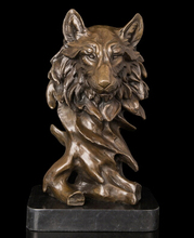 Copper Brass crafts Modern Sculpture door-to-door animal head real pure Brass statues sculptures of Heads and Wolf hotel(China)